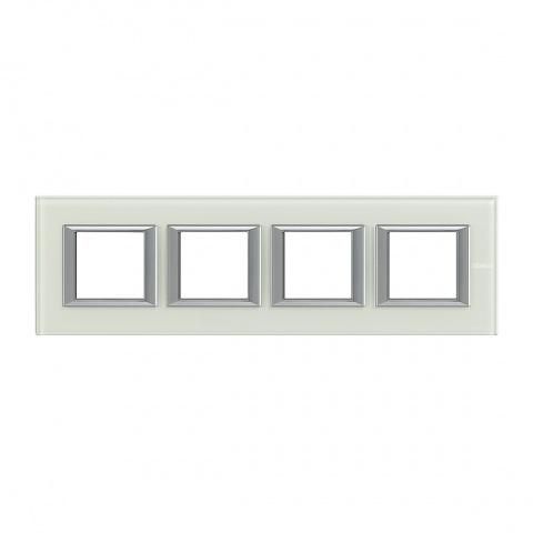 стъклена четворна рамка, whice, bticino, axolute, ha4802m4hvsw