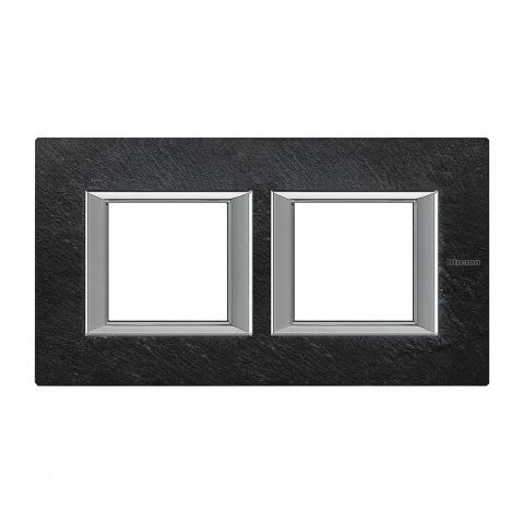 каменна двойна рамка, slate, bticino, axolute, ha4802m2hrlv