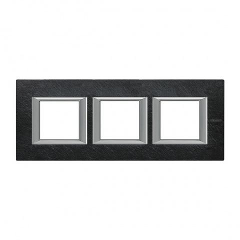 каменна тройна рамка, slate, bticino, axolute, ha4802m3hrlv