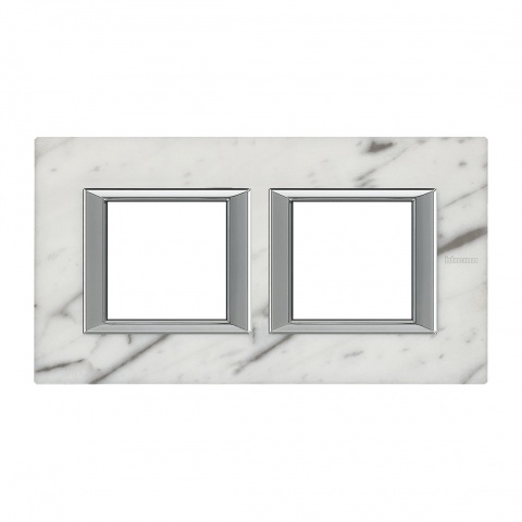 каменна двойна рамка, carrara marble, bticino, axolute, ha4802m2hrmc