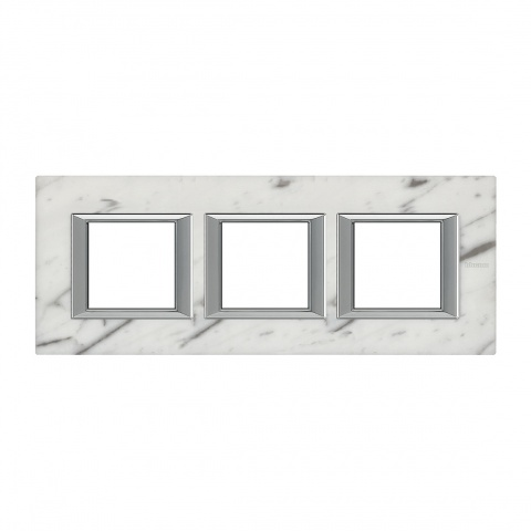 каменна тройна рамка, carrara marble, bticino, axolute, ha4802m3hrmc